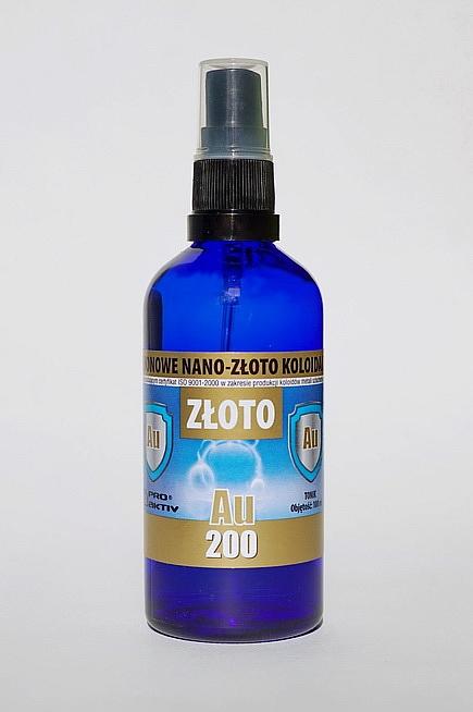 NIEJONOWE NANO-ZŁOTO KOLOIDALNE AU 200 - z atomizerem (100 ml)