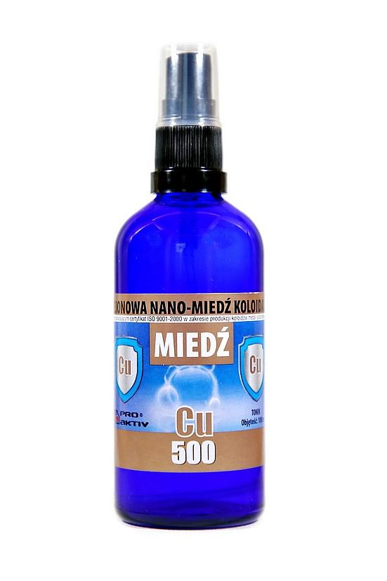 NIEJONOWA NANO-MIEDŹ KOLOIDALNA CU 500 - z atomizerem (100 ml)
